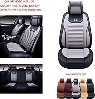 Oasis Auto OS-008 Leather&Cloth Universal Car Seat Covers Automotive Vehicle Cushion That Fits All Sedan Most SUV and Small Pick-Up Truck (Grey, Full Set)