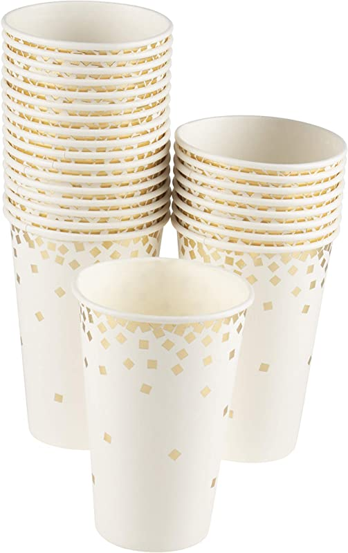 Confetti Party Paper Cups 50 Pack Gold Foil Disposable Paper Cups Party Supplies And Decorations For Kids Birthday Wedding Bachelorette Party Baby Shower White And Gold 12 Ounce