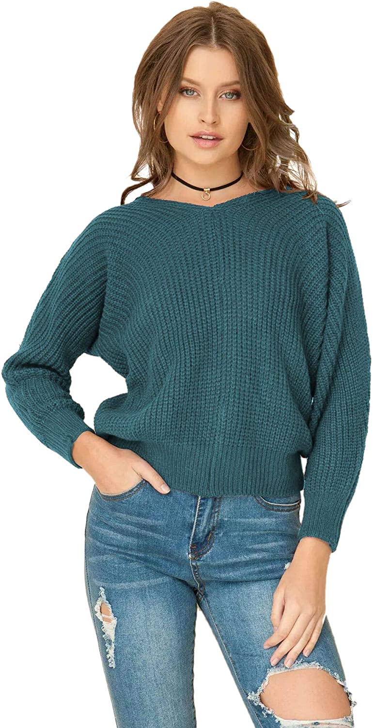 Romwe Women's Criss Cross Crew Neck Pullo Knit Sleeve Tampa Mall Long Solid Max 49% OFF