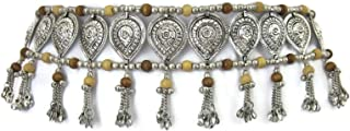 Womens Fashion Sash Belt | Bohemian Gypsy Hippie Music Festival Kuchi Tribal Belly Dance Style | Handcrafted Teardrop Medallions Wood Beads Metal Chain Tassels Boho Wedding Hip Waist Novelty Accessory