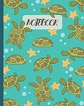 Notebook: Cute Turtle & Starfish Cartoon - Lined Notebook, Diary, Track, Log & Journal - Gift Idea for Kids, Teens, Men, Women (8