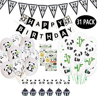 JumDaQ Panda Party Decoration Supplies Girls Birthday Banner Favor Pennant Banners Ribbon Balloons Stickers Panda Cupcake Toppers for Panda Bear Birthday Baby Shower Party Favor Decor 31 Packs