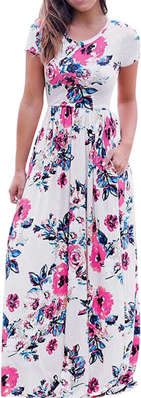 Sinifer Women's Summer Short Sleeve Floral Maxi Dresses Empire Waist with Pocket