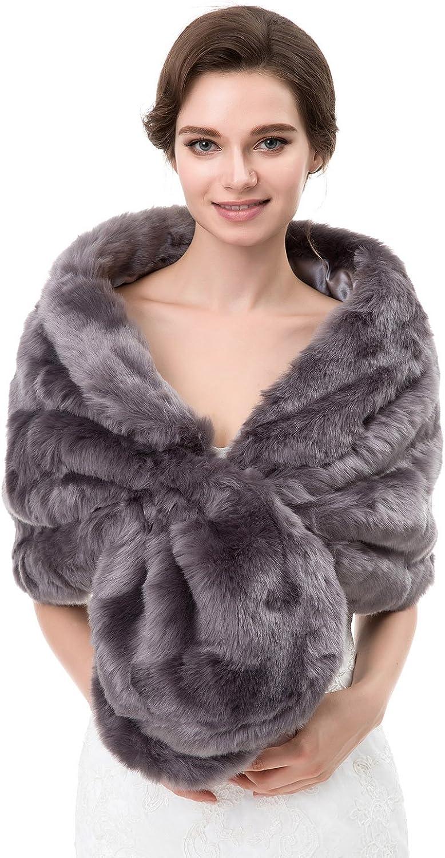 Eslieb Warm Faux Fur Shawl Wrap Stole Shrug Winter Bridal Wedding Cover Up