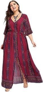 Romwe Women's Plus Size Floral Print Buttons Short Sleeve Split Flowy Maxi Dress