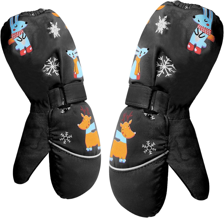 Kids Cartoon Winter Windproof Anti-Slip Adjustable Middle Length Ski Gloves