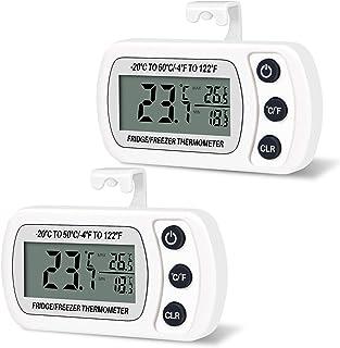 Thlevel Termómetro para Frigorífico Termómetro de Frigorífico Congelador Impermeable con Gancho, Pantalla LCD Fácil de Lee...