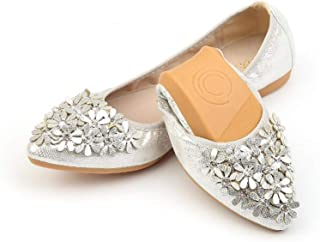 baixa Hot Crystal Flats Ballet Floral Flat Shoes Rhinestone Women Spring Autumn Flower Pointed Toe Golden Shoes Loafers C228