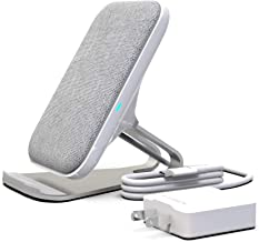 RAIGEN Wireless Charging Stand + Fast Charge AC Adapter Modern Fabric Canvas Design 7.5W for iPhone Xs MAX XR X 8 Plus, 10W for Samsung Galaxy S10 S9 S8 S7 Note 9/8 (Light Grey)
