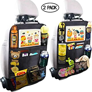 Patas Lague Car Seat Back Organizer, 10 Storage Pockets Including Touchscreen Tablet Holder with Cup Holder, Travel Accessories Organizer (2 Pack)