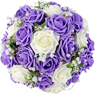Febou Wedding Bridal Bouquet, Wedding Bride Bouquet, Wedding Holding Bouquet with Artificial Roses Lace Pearl Ribbon, Perfect for Wedding, Church(Heart Pearl, White+Purple)