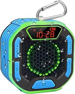 BassPal Enceinte Bluetooth Portable de Douche, Haut Parleur Étanche IPX7 avec son Puissant, Écran LED, Mousqueton, Spectac...