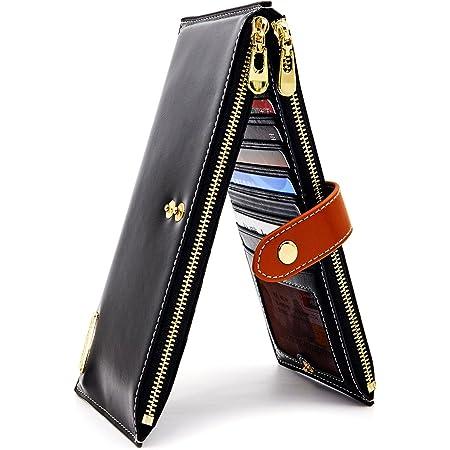 ANDOILT Mujer Cuero Genuino Billetera RFID Bloqueo Tarjeta de Crédito Poseedor Cremallera Carteras Teléfono Celular Bolsa Negro