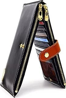 Women's Genuine Leather Wallet RFID Blocking Credit Card Holder Zipper Purse Cell Phone Handbag