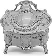 AVESON Rectangle Vintage Metal Jewelry Box Trinket Gift Box Chest Ring Case for Girls Ladies Women, Tin Color, Small