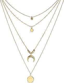 CNNIK Collana multistrato girocollo per donna ragazze moneta multistrato stili gotici collane a catena regolabile