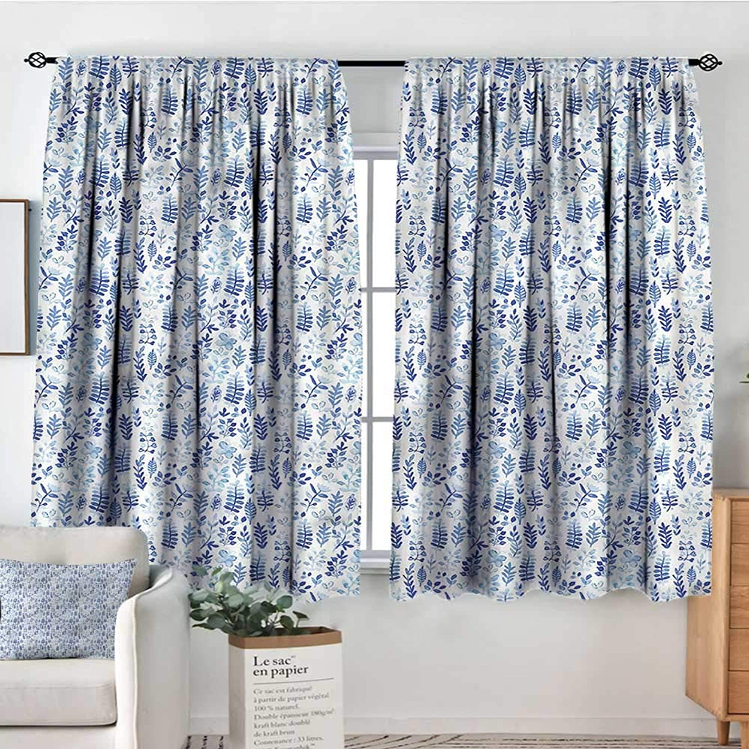 bluee and White,Print Decor Curtains Watercolor Herbs 42 X63  Drapes for Girs Iving Room