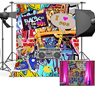 Mehofoto Back to The 90s Backdrop Graffiti Wall Hip Pop Photography Backdrops 5x7ft I Love 90s Birthday Background Party S...