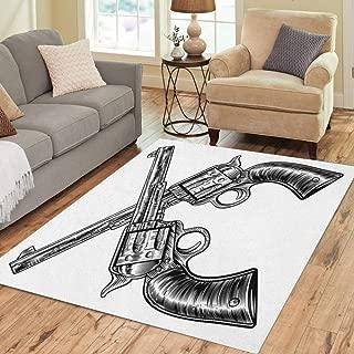 Pinbeam Area Rug Pair of Crossed Gun Revolver Handgun Six Shooter Home Decor Floor Rug 5' x 7' Carpet