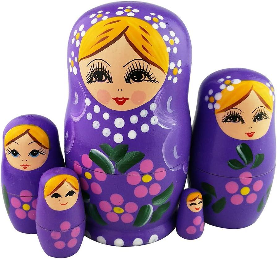 Winterworm Set of 5 NEW before selling Blonde Girl Nestin Nashville-Davidson Mall Flower Wooden Purple Pink