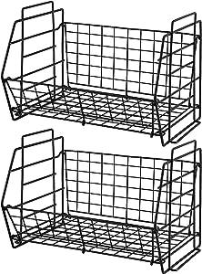 SHOMEP Kitchen Storage Wire Organizer Black Basket Bin 2 Tier Stackable Food Pantry Storage Basket for Organizing Home Foldable Metal Rack