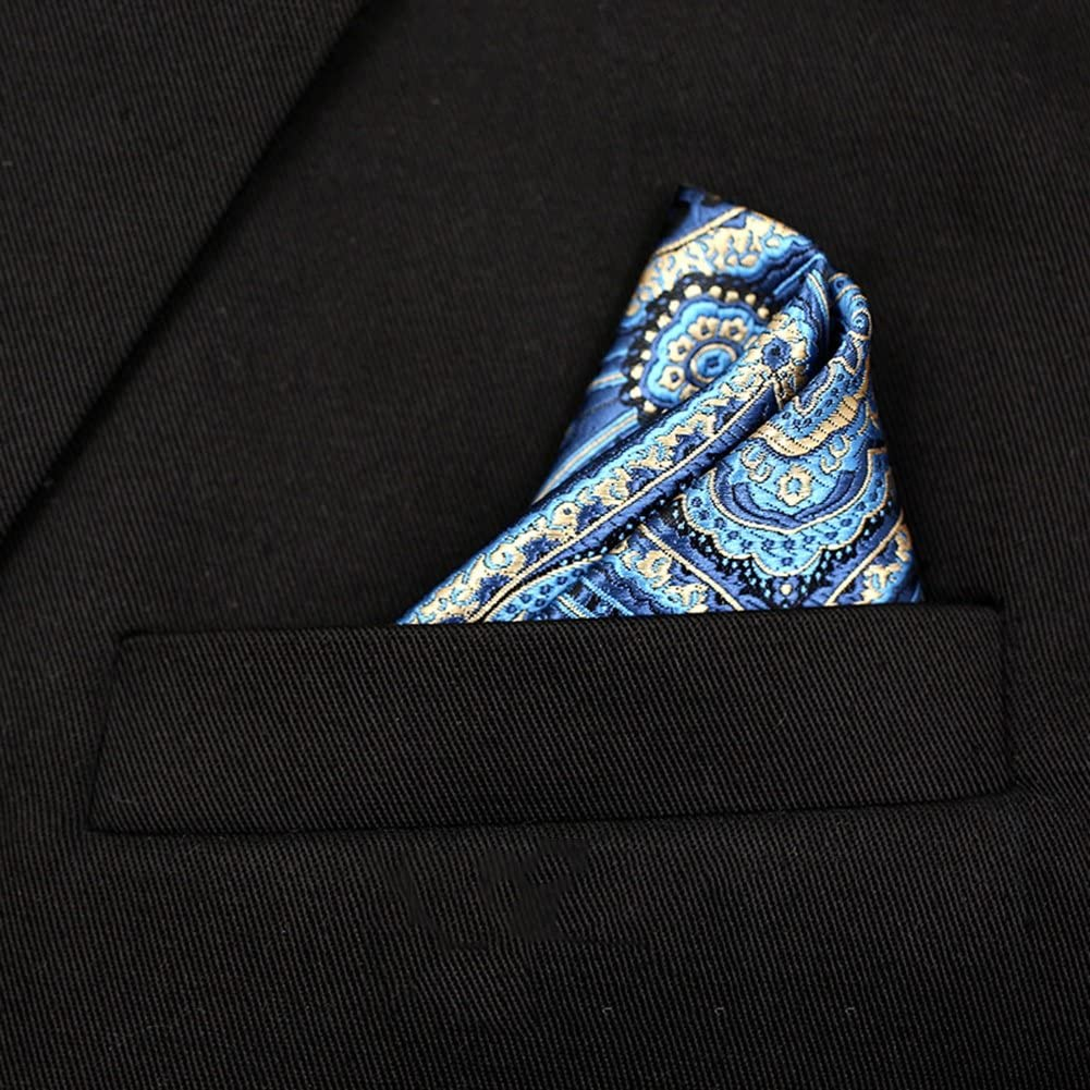 PENGFEI Neckties Pocket Handkerchief Men Formal Wear Business Gift Box 3 Colors 1/2 Pieces Optional, 45x45CM