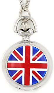 Union Jack Flag Pocketwatch Necklace Great Britain England Silver Tone NW01 Watch Pendant Fashion Jewelry