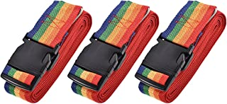 uxcell Luggage Straps Suitcase Belts with Buckle, 4Mx5cm Cross Adjustable PP Travel Packing Accessories, Multi Color (Red ...