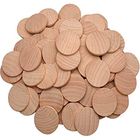 AxeSickle 1.5 inch Natural Wood Slices Unfinished Round Wood Coins for Arts & Crafts Projects, Board Game Pieces, Ornaments, 50 per Pack.
