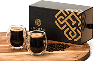 Encora Espresso Cups, Glass Double Wall Insulated, Double Shot Size (2.5 ounces), Set of 2, Gift Box, Coffee Mugs, Demitasse Cups, Tea set