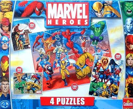 Marvel - Goliath - Marvel Heroes - 4 puzzles - 2 puzzles 100 pièces 26 x 36 cm/2 puzzles 200 pièces 36 x 49 cm