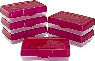 Storex Pencil Box, 8-3/8 x 5-5/8 x 2-1/2 Inches, Red, 6-Pack (61612U06C)