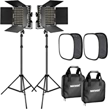 Neewer 2 Pieces Bi-color 660 LED Video Light with Stand and Softbox Kit: (2)3200-5600K CRI96+ Dimmable Light with U Bracket and Barndoor (2)Light Stand (2)Softbox for Studio Photography Video Shooting