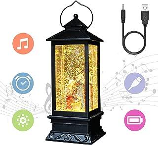 Eldnacele Nativity Musical Snow Globe Lantern Lighted Lamp USB Lined in Swirling Glitter Water Lantern Lamp Christmas Nativity Decoration Hurrican Light Timer 12