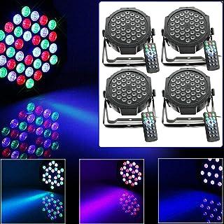 WUPYI2018-4 unidades de lámparas de escenario con efecto de luz 4 en 1 RGBW LED PAR 64 DMX512 36 W para discoteca