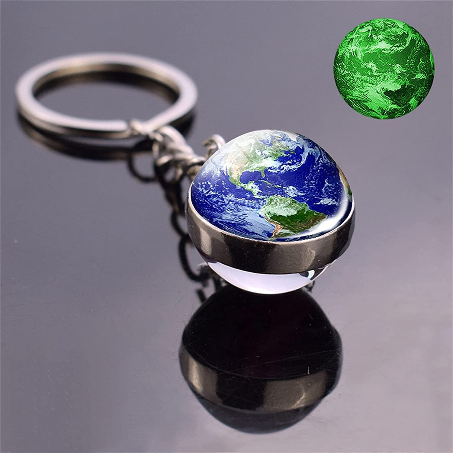 Keychain Glow in The Dark Solar System Planet Keyring Galaxy Nebula Luminous Keychain Moon Earth Sun Double Side Glass Ball Key Chain (Color : 1, Size : D)