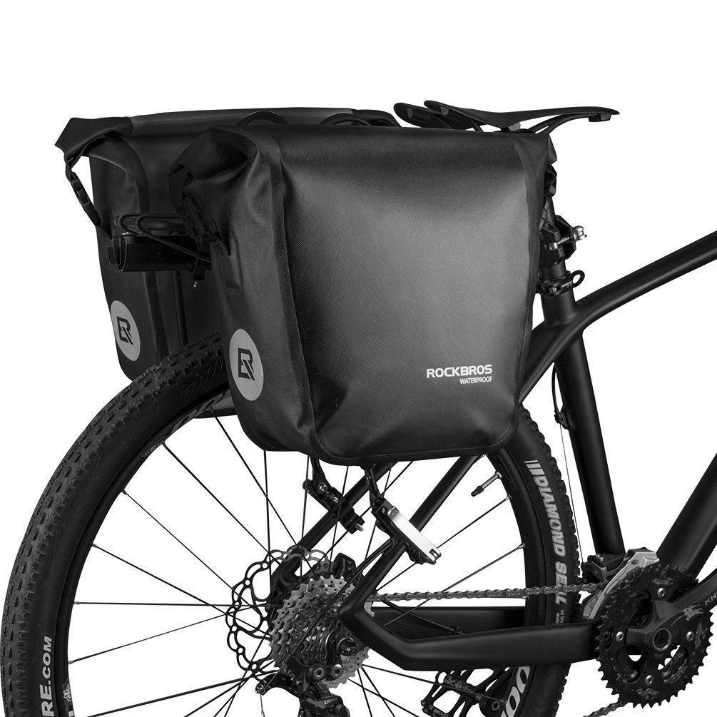 RockBros Bicicleta Alforja bicicleta bolsa de maletero alforja impermeable para bicicleta de montaña bicicleta de carretera 18L * 2, Black*2: Amazon.es: Deportes y aire libre