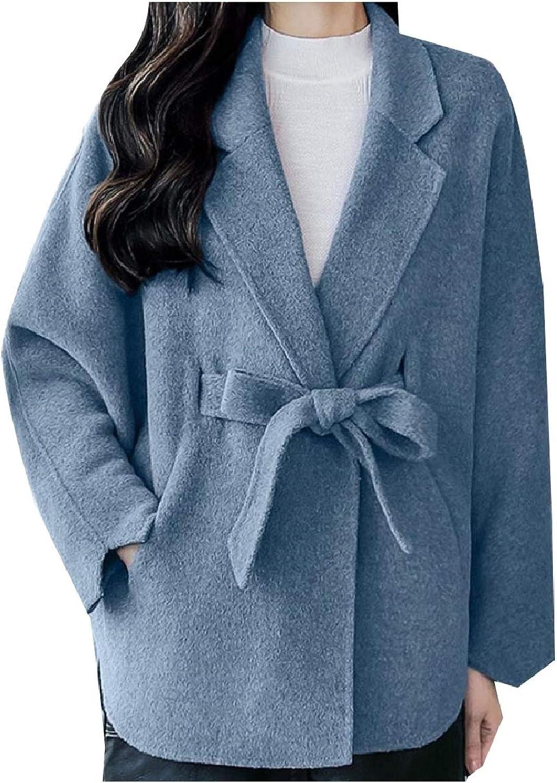 Spodat Women Short Oversized Baggy Poncho Wool Fall Winter Trench Coat