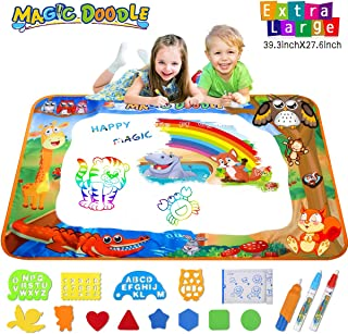 Pipigo Water Doodle Mat Toddler Birthday Toys Gifts Painting Writing Magic Water Drawing Mat Toys for 3 4 5 6 Year Old Girls Boys Large Size 39.3 x 27.6in