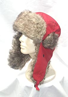 Fur Aviator Trooper Camper Earflap Red Beanie Ski Snowboard Hat