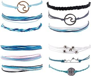Olgaa 12 Pcs Braided Rope String Summer Surfer Wave Anklet Bracelet Adjustable BohoBraceletsforWomen and Girls