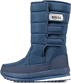 Bottes De Neige d'hiver pour Hommes Chaudebootie Anti-Slip Fourrure Doublure Étanche Slip sur des Chaussures De Plein Air ...
