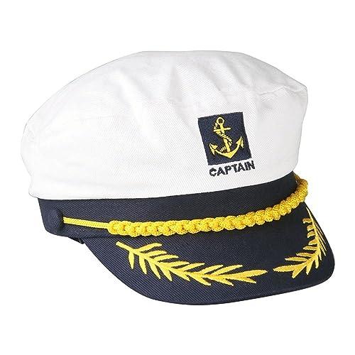 b781a8fa35f FACILLA® Sailor Ship Boat Captain Hat Navy Marins Admiral Adjustable Cap  White  Apparel