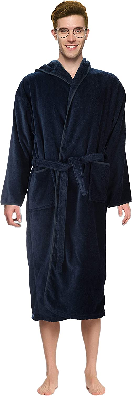Abstract Bath Robe Towel Men's/Boys 100% Cotton Hooded-Terrycloth-Velour Finishing Outside- 2 Pockets- Color Navy/Blue at  Men's Clothing store