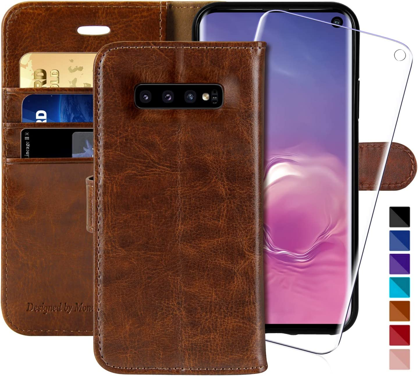 Galaxy S10 Wallet Case, 6.1 inch,MONASAY [Included Screen Protector] Flip Folio Leather Cell Phone Cover with Credit Card Holder for Samsung Galaxy S10