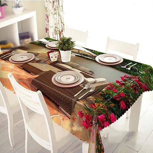 HUANZI 3D Tischdecke Tischstuhl Staubdicht Umweltschutz Geschmacklos Tischdecke, Rectangular Width 178cmx Long 274cm