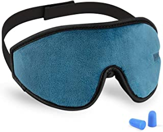 3D Sleeping Mask Eye Cover, Cshidworld Patented Design 100% Blackout Sleep Mask Contoured Comfortable Lightweight Adjustable Eye Mask & Blindfold for Travel, Nap, Shift Works(Blue)