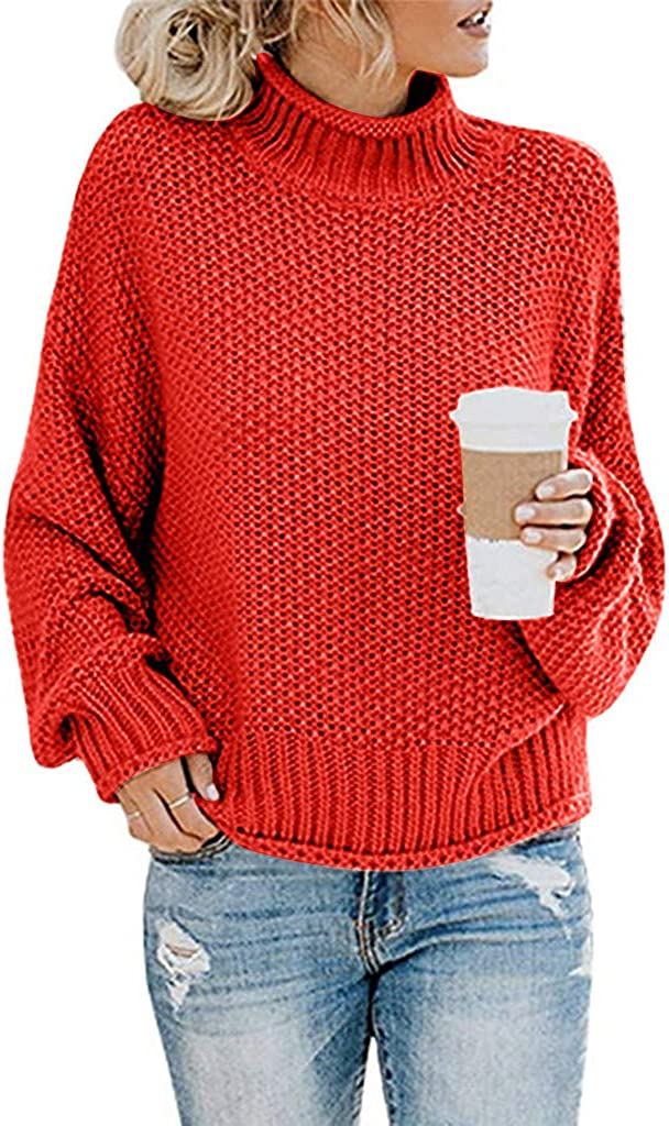 SPORTTIN Womens Turtleneck Sweater Casual Oversized Batwing Long Sleeve Pullover Loose Chunky Waffle Knit Jumper Tops