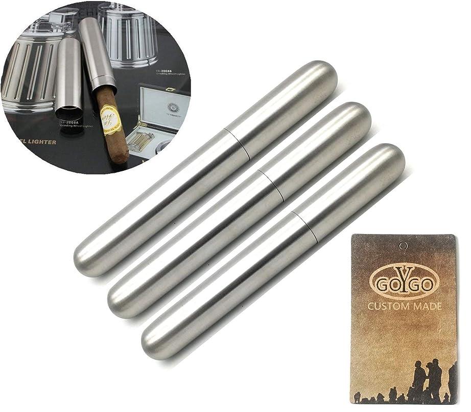 温かいスイ技術ヒュミドール 葉巻ケース  シガー チューブ ステンレス ケース 携帯 保管 喫煙具 (3本)