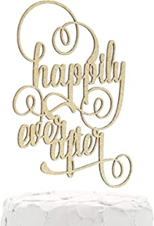 NANASUKO Wedding Cake Topper - happily ever after - Double Sided Gold Glitter - Premium quality Made in USA